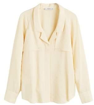 MANGO Lapelled texture blouse