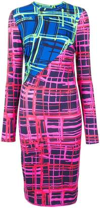 House of Holland contrast panelled check dress