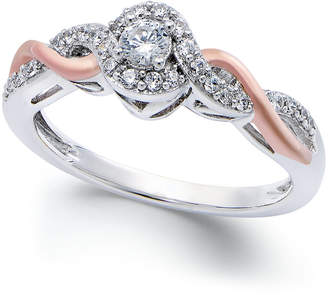 Macy's Diamond Twist Promise Ring in Sterling Silver and 14k Rose Gold (1/5 ct. t.w.)