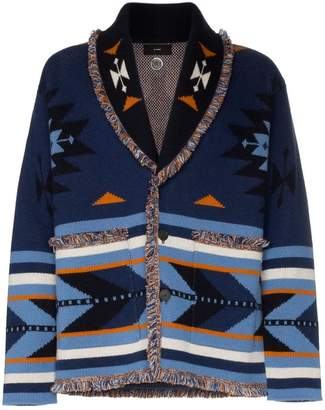 Alanui V neck arrow intarsia cashmere cardigan