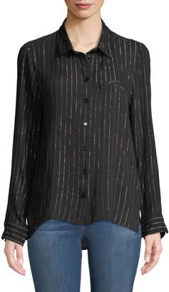 Velvet Heart Pepi Metallic Striped Button-Down Blouse