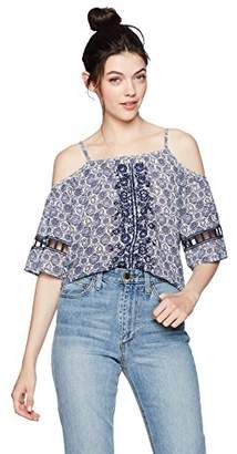 Jolt Women's Floral-Printed Woven Cold Shoulder Top with Lace