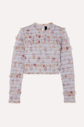 Needle & Thread Think Of Me Shirred Floral-print Tulle Top - Sky blue
