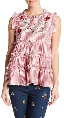 Romeo & Juliet Couture Pinstripe Floral Embroidered Tank