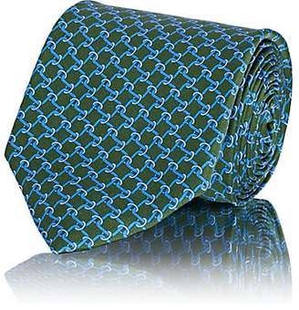 Barneys New York Men's Chain-Link-Pattern Silk Satin Necktie - Green