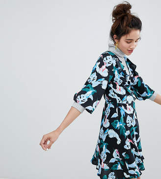 Monki Tropical Bird Print Wrap Mini Dress
