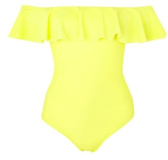 Women's Topshop Ruffle Off The Shoulder One-Piece Swimsuit $58 thestylecure.com
