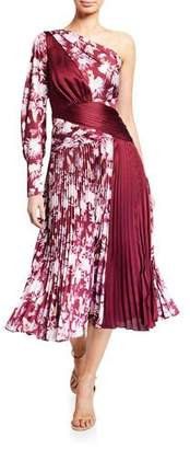 Three floor Xilitla Printed One-Shoulder Pleated Midi Dress