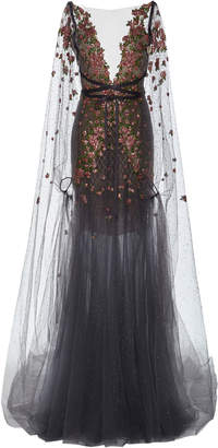 Marchesa Embroidered Tulle Gown With Cape