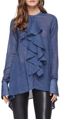 BCBGMAXAZRIA Imogene Ruffled Long Sleeved Shirt