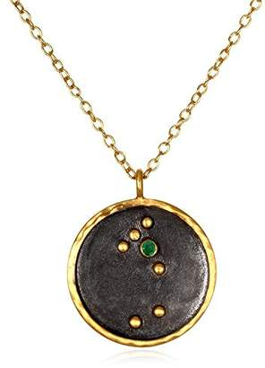 Satya Jewelry Zodiac Gold-Plated Peridot Leo Constellation Necklace (18-Inch)