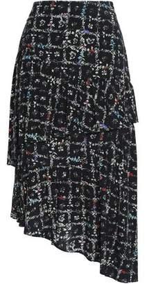2a969500cf3b Preen Line Asymmetric Floral-print Crepe De Chine Midi Skirt
