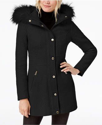 INC International Concepts I.n.c. Faux-Fur-Trim Woven Coat