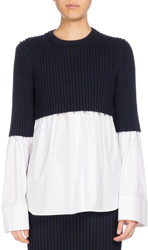Kenzo Kenzo Mixed-Knit Long Sleeve Top, White