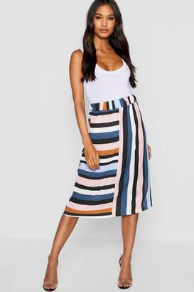 boohoo Stripe Cut Out Midi Skirt