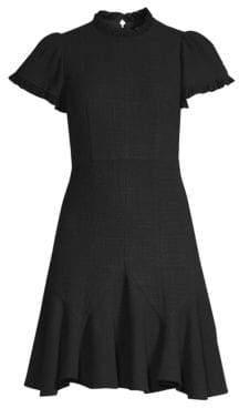 Rebecca Taylor Short-Sleeve A-Line Tweed Dress