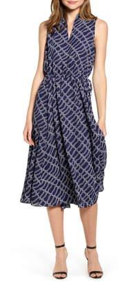 Anne Klein Rope Print Drawstring Midi Dress