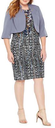 MAYA BROOKE Maya Brooke 3/4 Sleeve Embellished Jacket Dress - Plus