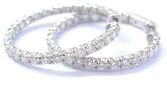 14K White Gold Round Cut Diamond Inside Out Hoop Earrings
