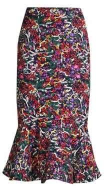 Saloni Portia Floral Midi Skirt