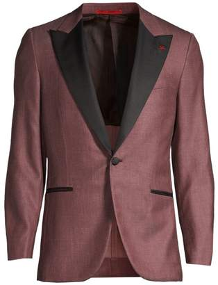 Isaia Solid Single-Breasted Wool, Silk & Linen Dinner Jacket