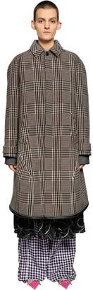 Balenciaga Oversize Wool Blend Prince Of Wales Coat