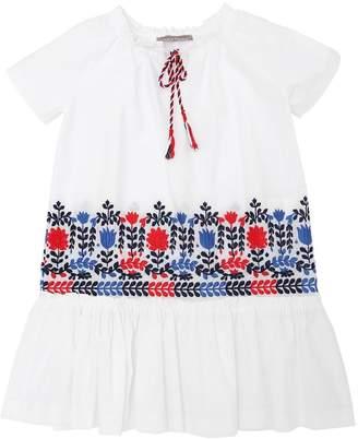 Ermanno Scervino Embroidered Stretch Cotton Poplin Dress