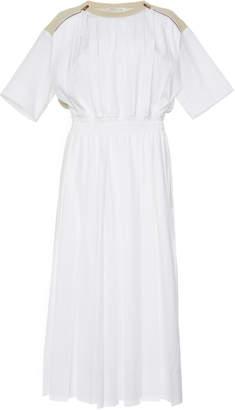 Agnona Popeline Dress With Knit Back