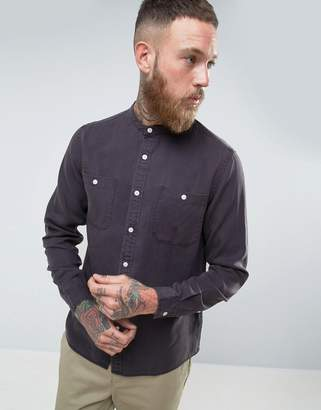 Asos Design Regular Fit Shirt In Drape Fabric With Grandad Collar In Charcoal