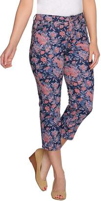 Isaac Mizrahi Live! TRUE DENIM Floral Printed Cropped Jeans