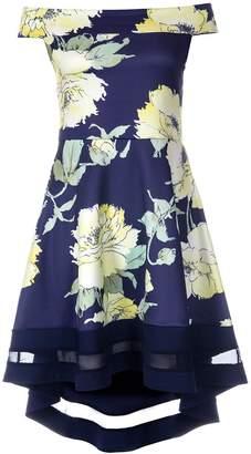 Quiz Navy And Yellow Floral Print Bardot Dip Hem Dress