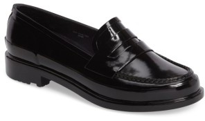Women's Hunter Original Waterproof Rubber Penny Loafer $135 thestylecure.com