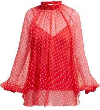 Zimmermann Polka Dot Silk Overlay Blouse - Womens - Red
