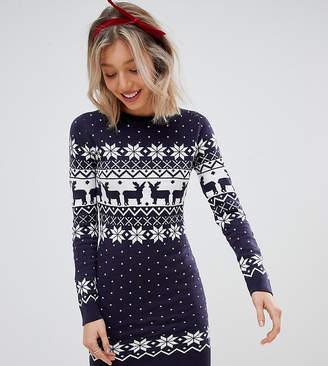 Brave Soul Petite sweater dress in reindeer fair isle