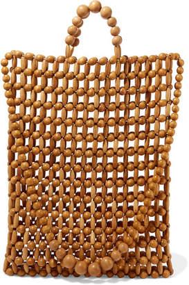 Cult Gaia Riya Beaded Bamboo And Wood Tote - Brown