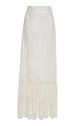 Alexis Guiliana Ruffled Linen-Silk Blend Maxi Skirt Size: XS