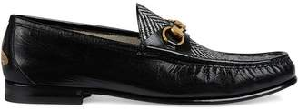 Gucci Leather and herringbone loafer