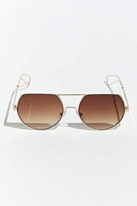 Urban Outfitters Metal Angled Half Frame Round Sunglasses