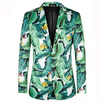 diecaprle Fashion Printed Mens Blazers New Arrivals 2017 plus European size 46-58 Leaf Pattern Floral Men Suit Jackets
