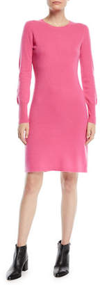 Neiman Marcus Cashmere Long-Sleeve Sweater Dress
