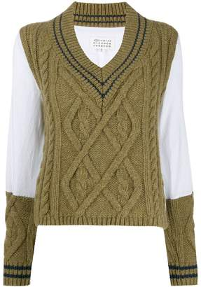 Maison Margiela panelled cable knit jumper