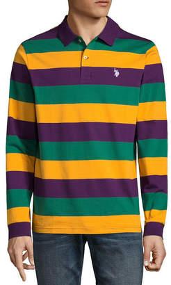 U.S. Polo Assn. USPA Embroidered Long Sleeve Stripe Jersey Polo Shirt