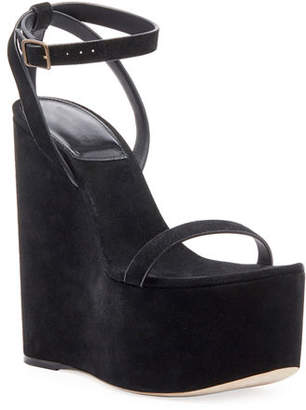 Saint Laurent Suede Wedge Platform Sandals