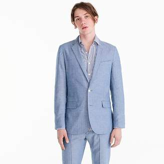 J.Crew Ludlow Slim-fit unstructured suit jacket in blue herringbone cotton-linen