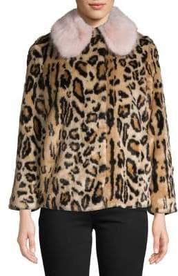 Topshop PETITE Leopard Faux Fur Coat