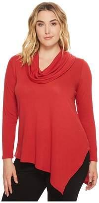 Karen Kane Plus Plus Size Cowl Neck Angled Hem Sweater Women's Sweater
