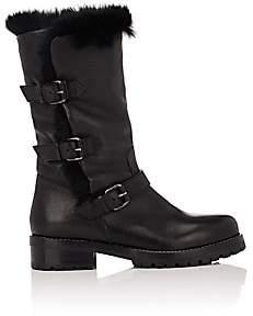 Sartore Women's Fur-Lined Moto Boots - Black