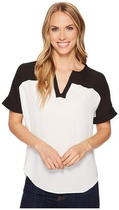 NYDJ Contrast Yoke Woven Tee Women's T Shirt