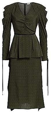 Fendi Women's Puff Sleeve Kimono Print Satin Dress