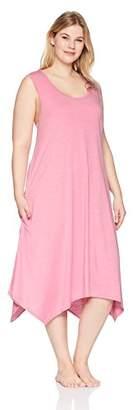 Arabella Women's Plus Size Sleeveless Rayon Slub Nightgown
